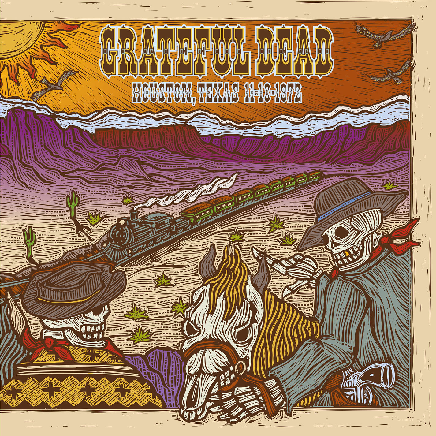 Grateful Dead Houston TX 11/18/72 album cover artwork